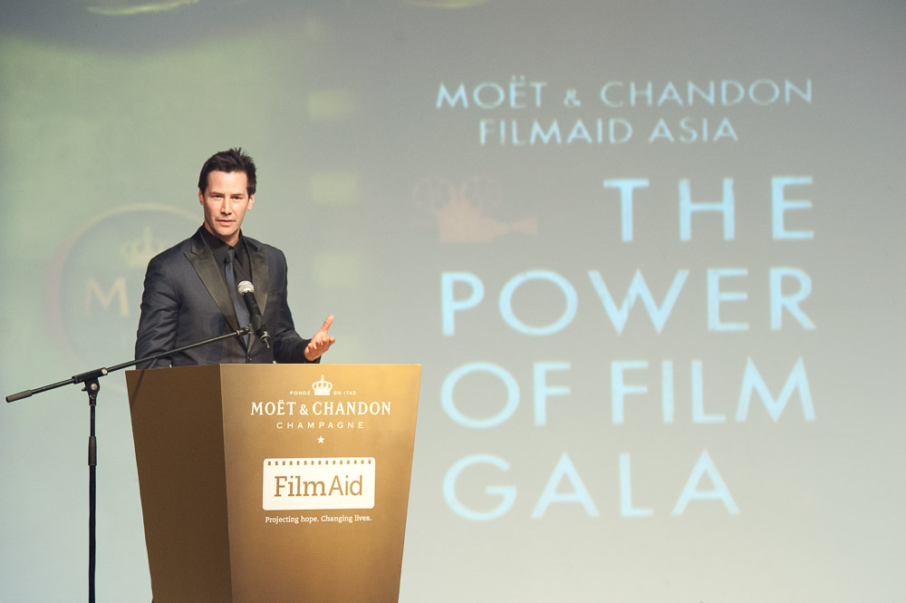 Keanu Reeves delivering speech at The Power of Film FilmAid gala Asia in Grand Hyatt Hong Kong, photography by C.K. Man