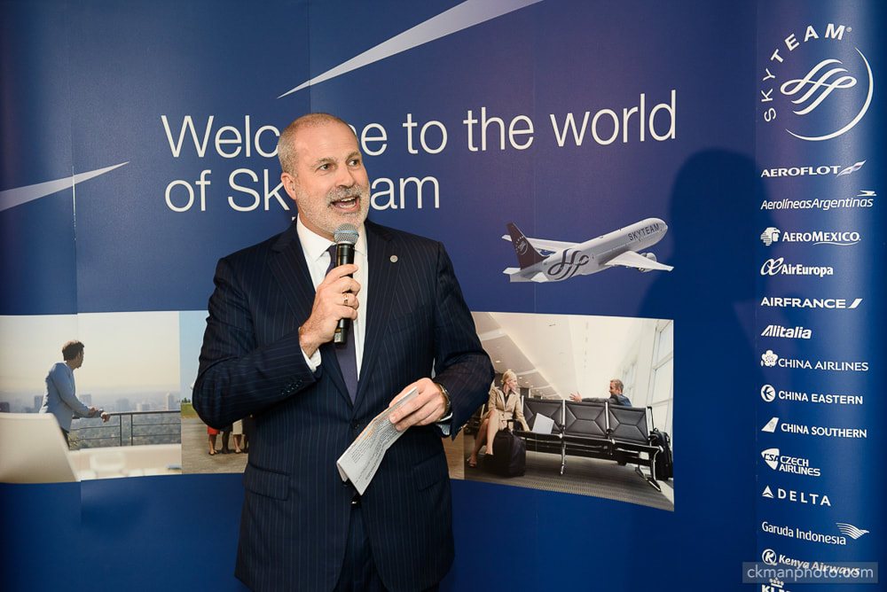 Skyteam CEO Mr. Perry A. Cantarutti delivering speech at opening event