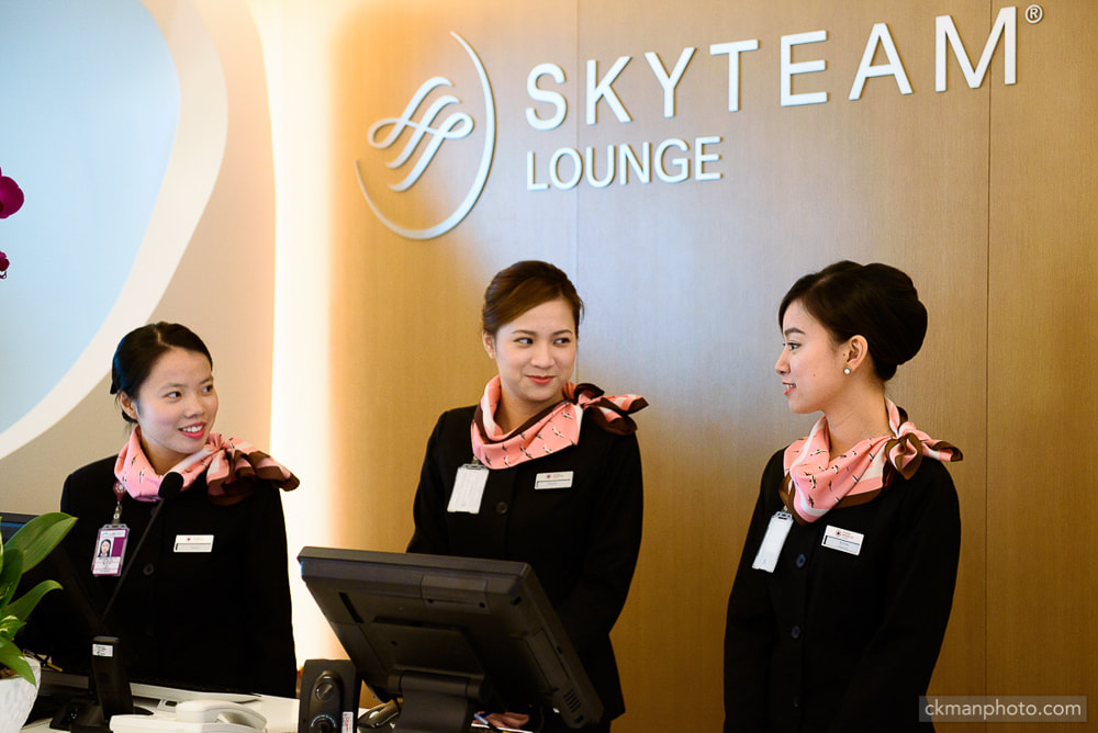 Hong Kong Airport SKYTEAM Lounge reception area