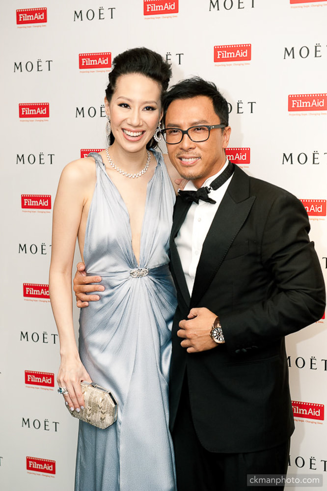 Donnie Yen 甄子丹 and his wife Cissy Wang at FilmAid event sponsored by Moet & Chandon