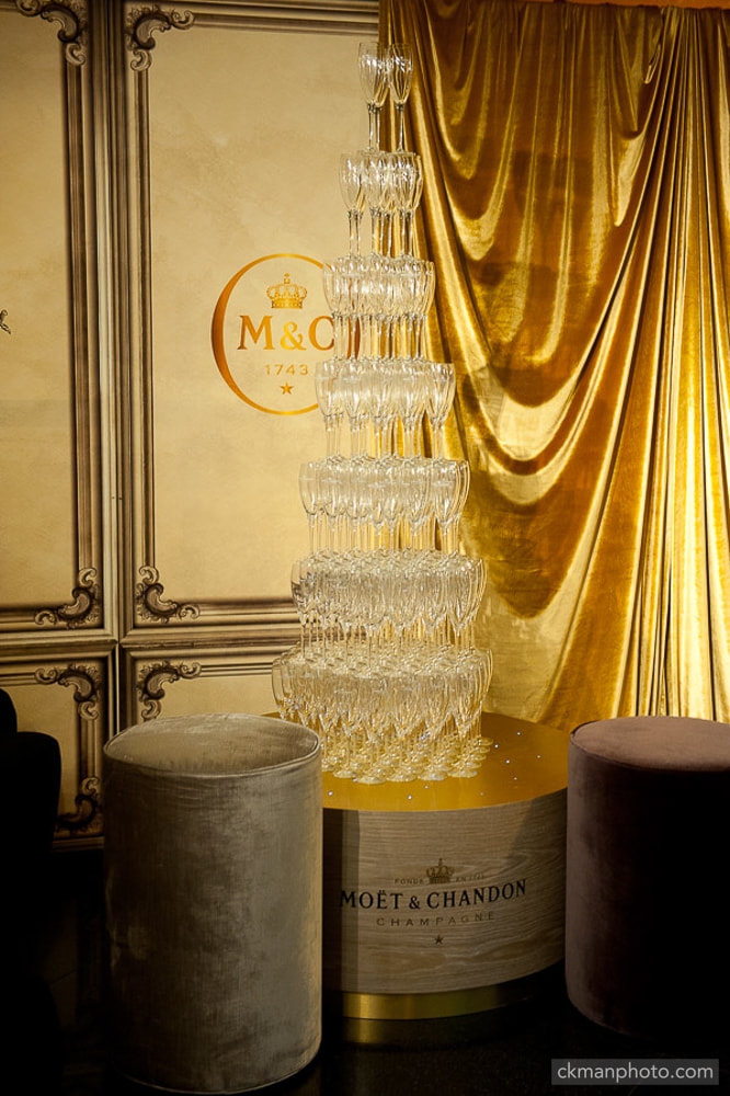stacked champagne flute glasses